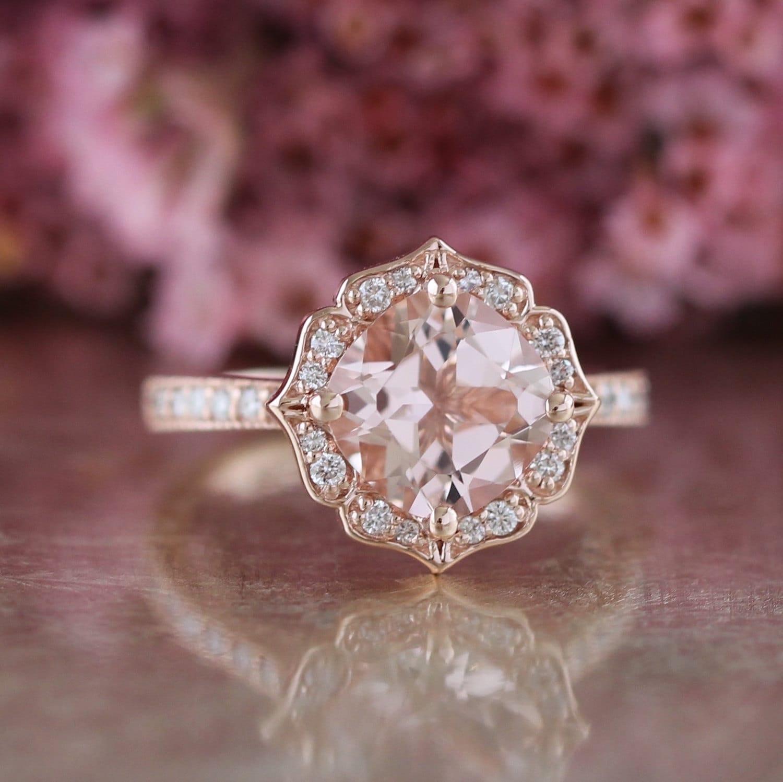 Vintage Floral Morganite Engagement Ring in 14k Rose Gold Milgrain Diamond  Wedding Band 8x8mm Cushion Pink Peach Morganite Gemstone Ring