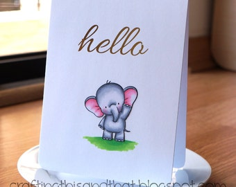 friendship card // miss you card // card for friend // hello card // elephant card