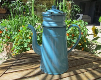 French Vintage Blue Enamel Coffee Pot and Filter - French Country Kitchen