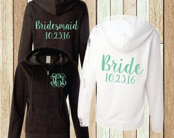 Monogram Hoodie Bridal Party Sweatshirt Bridesmaid Full Zip Jacket (BR006) B16