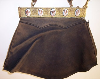 Vintage Cameo Adorned Purse, Bag, Dance Purse