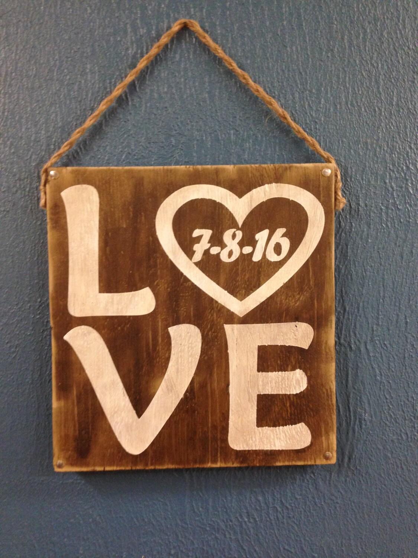 Vintage Wood Love Sign With Wedding Date By KarenKrafts76 On Etsy