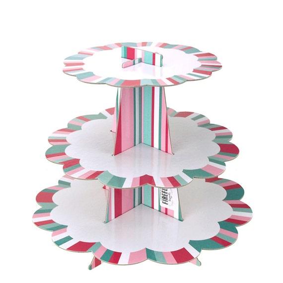 Border Striped Cardboard Cupcake Stand 3 Tier 10 Inch