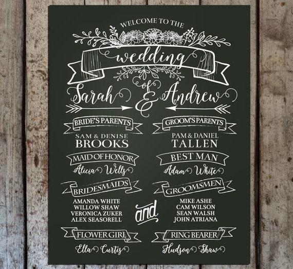 Chalkboard Wedding Program Sign Printable