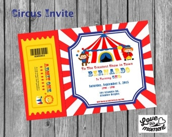 Circus Birthday Invitation, Carnival Theme, Circus Party, Carnival Party
