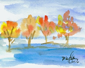 "Small watercolor ""Autumn leaves"""
