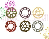 SPROCKETS Embroidery Design, Six designs in three sizes each, gears,  #416