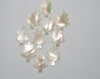 Vintage Mother Of Pearl Hand Carved Leaves. Lot of 10 (1061642)