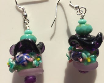 Beautiful Green, pink, and blue Flowery Lampwork Glass earrings on sterling earwires.