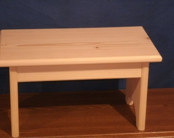 "wood step stool, wooden stool,rustic wooden stool unfinished pine 9"", wood bench, step stool, wooden foot stool"
