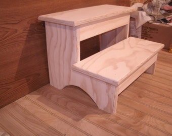 wood step stool, wooden step stool, wood stool, wooden stool, rustic GROWNUP'S  2 step wood step stool,