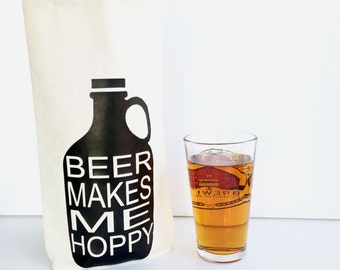 """Beer Gifts for Men, Husband Gift, Craft Beer Growler Gift, Beer Gifts, Beer Gift for Dad, Birthday Gifts for Him, """"Beer Makes me Hoppy"""""""