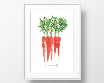 11' x 14' Matted 'Carrots' Watercolor Art Print
