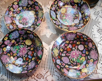"""Floral Chintz And Black China Asian Dinnerware Soup Coupe Bowls Lot of 4 NEW 8"""" Wide Free Shipping"""