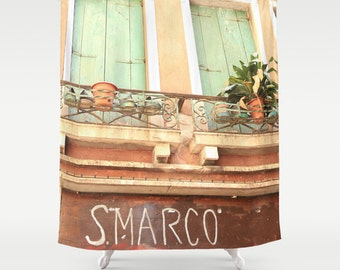 Italy Shower Curtain, Venice Shower Curtain, Italy Decor, Venice, San Marco, Fabric Shower Curtain, Peach, Mint, Standard or Extra Long