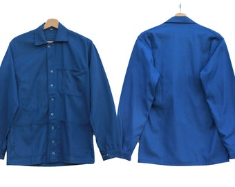 Vintage blue cotton jacket hipster style for man & woman boiler suit