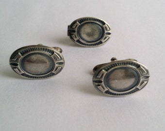 Antique Art Deco Signed SWANK Silver Tone Tie Clip and Cufflinks Set