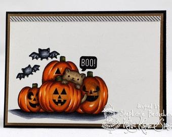 Boo bat pumpkin cat hiding card