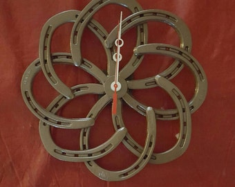 Stylish Wall Clock made from new horse shoes/hammered brown