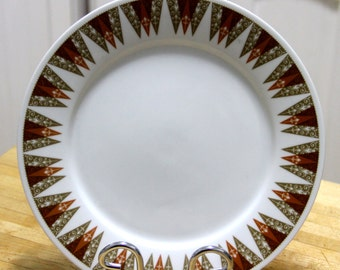 """Vintage 1960's """" Geometric pattern """" Dinner plate -  Fine China from japan"""