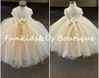 Ivory Beige Lace girl dress with White Chiffon Rhinestone Flower and Lace  sleeves straps, full length wedding Dress