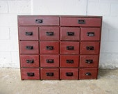 BEAUTIFUL RED Antique 18 Drawer Wooden Apothecary Cabinet Parts Bin Card Catalog General Store TV Console Entryway