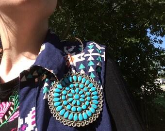 FAUX TURQOISE STONE Vintage 1970's Zuni Native American Brooche