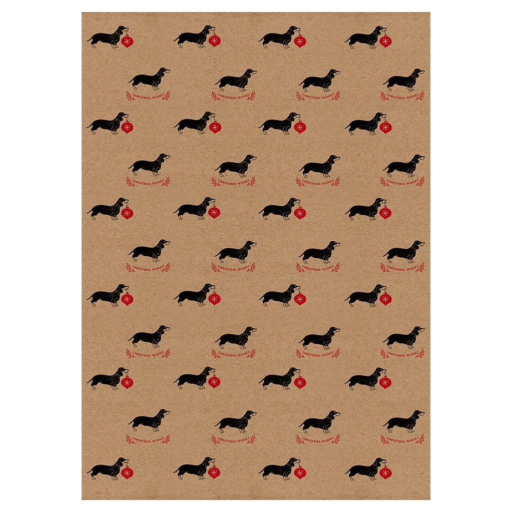 sausage dog christmas wrapping paper kraft by wrappedbyalice