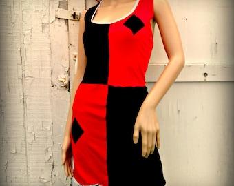 Harley Quinn  Halloween your choice length dress costume Cosplay Arkham Shirt