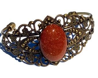 Antique Bronze Bangle Bracelet - Gold Stone Bracelet - Bronze and Gold Stone  Bracelet - Cuff Bracelet, Bangle Bracelet, Gold Stone Bracelet