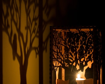 """Barred Owl in Tree laser cut wood candle luminary. 5""""x5""""x7"""". Tea light candle included. Free shipping to US."""