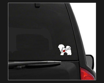 Bichon Frise Love: A Car Window Vinyl Decal - Laptop Sticker - Dog Breed Decals - Dog Stickers - Cooler Decal - Gift for Dog Lover