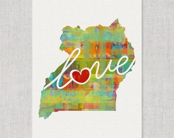 Uganda Love - Colorful Watercolor Style Wall Art Print & Home Country Map Artwork - Adoption, Moving, Engagement, Wedding Gift and More