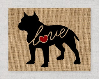 Pitbull / Pittie / Blue Nose w/ Docked Ears - Burlap Dog Breed Home Decor Print Gift for Dog Lovers - Can Be Personalized with Name (101s)