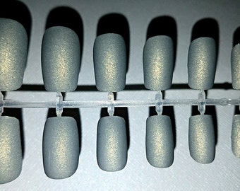 Grey Matte Fake Nail Set- Press on Nails- Glue on Nails- Acrylic Nails- Artificial Nails- False Nails- Fake Nails- Matte Nails- Gray Nails