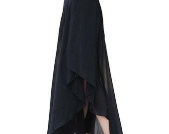Chiffon layered pleat long skirt black