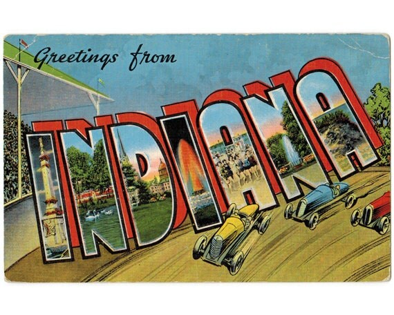Indiana Vintage Linen Postcard Greetings From Indiana 1940s