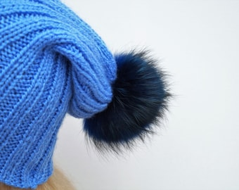 Blue Hat,Winter Hat,Womans Hat , Natural Fur Pom Pom,Hand Knitted Hat,Handmade Cap,Natural Fur,Knitted Cap,