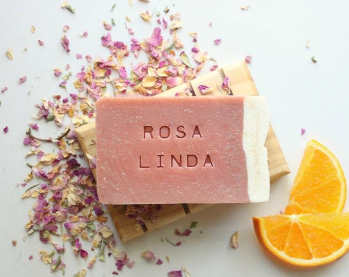 ROSA LINDA // All Natural // Vegan // Cold Process // Handmade // Rose Clay // Orange // Geranium // Soap