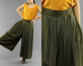Olive Green High Waist Pleated Palazzo Pants By Casablanca Size 8 Women's 80's Vintage