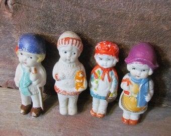 Vintage 1930's Set of Four Japanese Bisque Porcelain Carnival Game Frozen Charlotte Prize Dolls