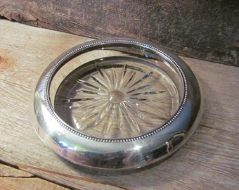 Vintage Frank M. Whiting Sterling Silver and Glass Ashtray Early 1900's