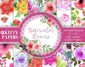 Watercolor Flowers Digital Paper Pack, Watercolor floral digital paper for scrapbooking, decoupage, invitations, card making, printables