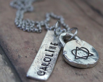 Adoption Symbol Necklace, Personalized Adoption Necklace, Adoption Triad, Adoption Gift, Gotcha Day Gift, Adoption Gifts, Hand Stamped