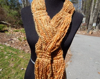 Sunny Gold and Tan Sewn Scarf