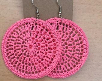 Crochet earrings in light pink
