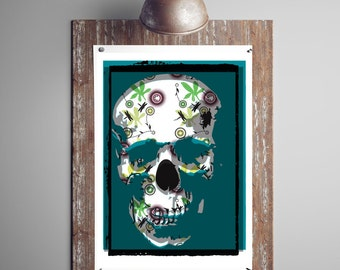 Giclee Sherlock Skull Print. Sugar Skull Print. Skull Print