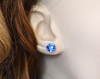 Sapphire Blue Earrings, Swarovski Crystal Earrings, September Birthstone Crystal Stud Earrings, Post Earrings