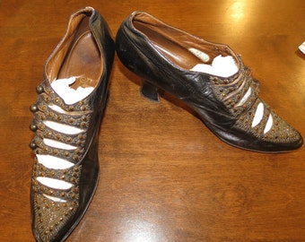 Ewardian Beaded Shoes by Sorosis Copper beaded Edwardian Shoes