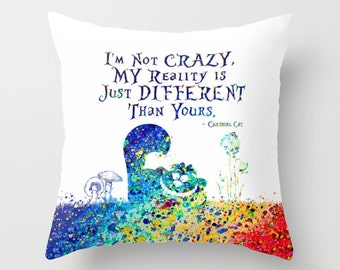 """Cheshire Cat Throw Pillow Cover Watercolor Art """"I'm Not Crazy"""" Cheshire Cat Quote Alice in Wonderland Decorative Pillow Cover Home Decor"""